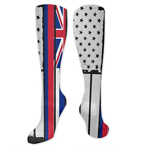 ouyjian USA Vintage Hawaii State Flag Knee High Sport Compression Long Sock For Soccer Walking
