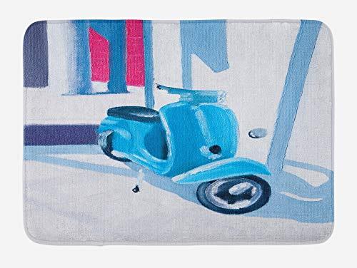 N\A Alfombra de baño Country, Mini Scooter en Suave mediterráneo Mid Day Italian Town Life Art Paint Print, Alfombra de Felpa Decorativa para baño con Respaldo Antideslizante, Azul Gris