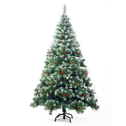 PrimoLiving Künstlicher Tannenbaum Weihnachtsbaum 210cm mit Schnee-Effekt und Tannenzapfen (P-12970)