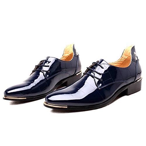Men's Casual Pointed Toe Business Oxford Shoes Classic Leather Lace Up Formal Design Breathable Comfortable Trendy Fashion Black Blue Red Footwear (Men's 5 = Women's 6.5 / EU 37, Blue)