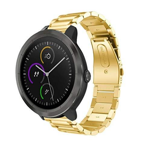 BNBUKLTD - Correa para reloj Garmin Vivoactive 3 de acero inoxidable, Hombre, color * Oro, tamaño Talla única