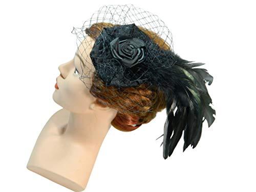 Fascinator schwarz Feder Kopfschmuck Gothic Burlesque Formal Damenhut Cocktailhut