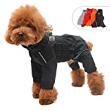 Dogs Waterproof Jacket, Lightweight Waterproof Jacket Reflective Safety Dog Raincoat Windproof Snow-Proof Dog Vest for Small Medium Large Dogs Black XS