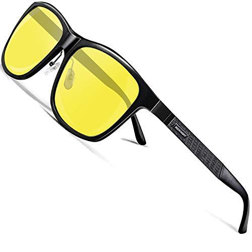 ROCKNIGHT Night Vision Glasses HD Driving Sunglasses for Men Polarized UV Protection Driving Anti Glare Yellow UV Sunglasses Metal Frame