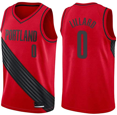 WSUN Damian Lillard 0# NBA Portland Trail Blazers Baloncesto NBA Camiseta para Hombre NBA Camisetas Sin Mangas Unisex Camisetas Deportivas Al Aire Libre Competencia Chaleco De Baloncesto,XL