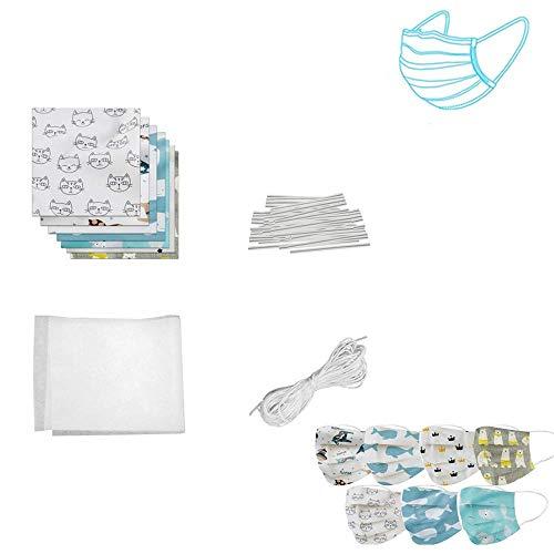 HSKB DIY Material Set mit Nasenbügel für Mundschutz Biegsamen Draht zum Fixieren/mit Baumwoll Material mit Gummiband Nähen Elastik Kordel für Anfänger DIY Handwerk (25 * 25cm)