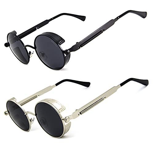 Ronsou Steampunk estilo redondo vintage polarizado gafas de sol retro gafas UV400 protección Matel marco, gris (B0 2 lentes grises con marco negro + lente gris plateado), Talla única