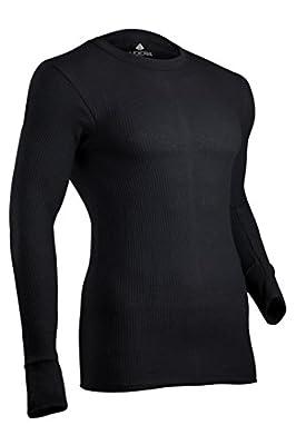 Indera Men's Cotton Waffle Knit Heavyweight Thermal Underwear Top, Black, Large