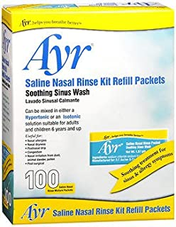 Ayr Saline Nasal Rinse Kit Refill Packets - 100 ct, Pack of 5