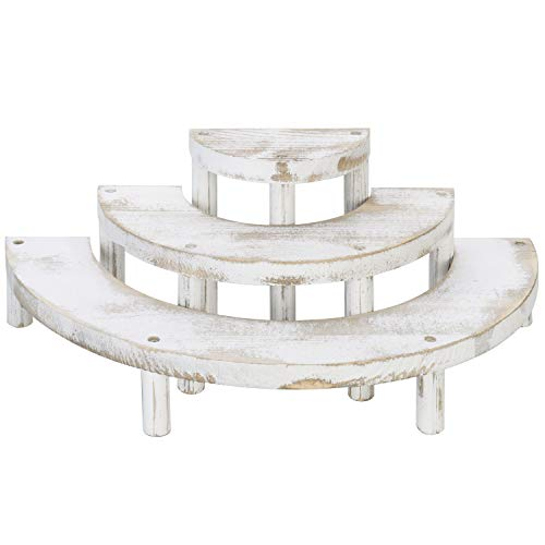 MyGift Shabby White Washed 3-Tier Half Moon Retail Display Risers
