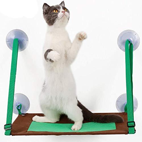BBGSFDC Ventana Perch Cama DE Cama Asiento Cats HAMSCK Bed Ventana Montado Gato Colgante Hamaca con 4 Tazas de succión Ultra Pesado Sostiene hasta 44 Libras, Verde