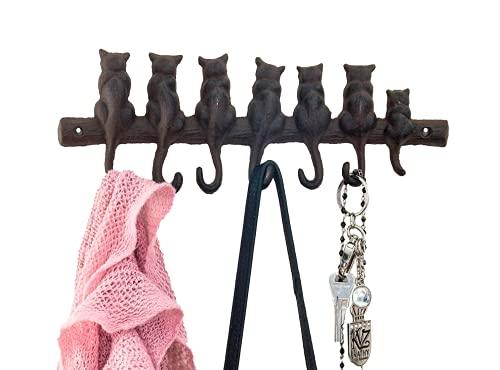 Comfify Appendiabiti da Parete in ghisa, con 7 Gatti, in Stile Vintage, con 4 Ganci, Montaggio a Parete, 32 x 10 cm, con Viti e tasselli