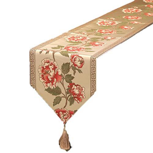 Dingziyue Tischdecke, einfache Sticktechnik, rechteckig, Tischflaggendekoration, Tischdecke, für Heimdekoration, Materialmix, braun, 32*210CM