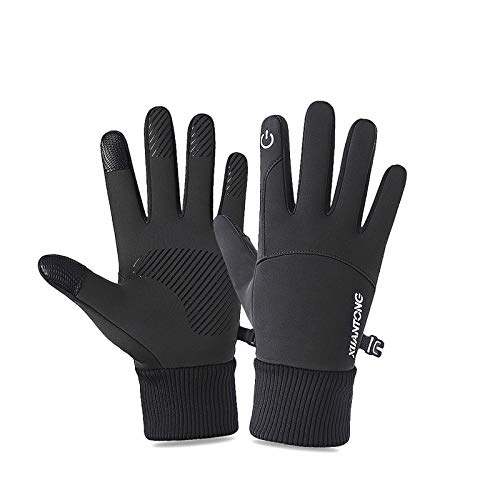 iMeshbean Touchscreen Handschuhe, Winter Fahrradhandschuhe Warme Sporthandschuhe Winterhandschuhe Laufhandschuhe Winddicht rutschfest Handschuhe für Damen und Herren (Cooles Schwarz, XL)