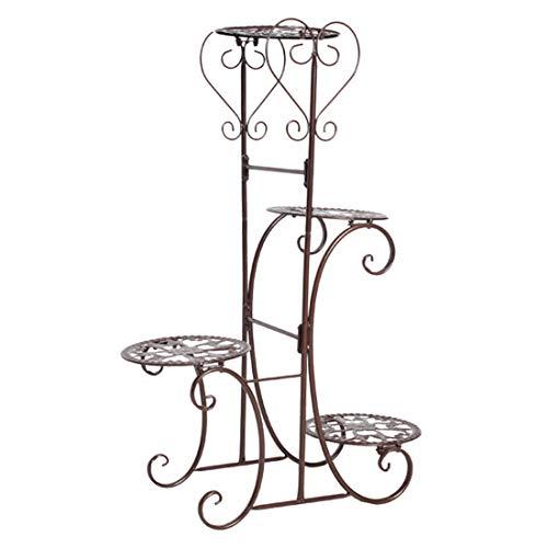 Macium Scaffale Porta-Fiori in Ferro con 4 Strati, Fioriera Scaffale Verticale a Scala da Balcone Giardino Interna Esterna - 50 x 22 x 82cm