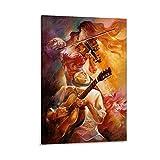 LAJITONG Lienzo para guitarra y violín, 60 x 90 cm