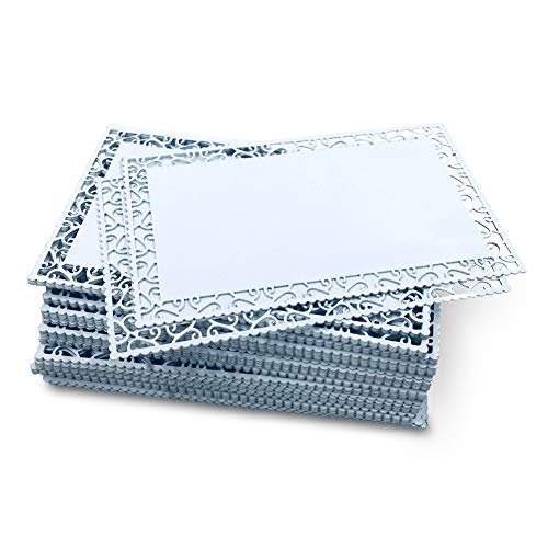 Ebamaz 50 Stück dicke 0,45 mm Sublimation Metall Visitenkarten Aluminium Rohlinge 8,6 x 5,3 x 0,4 cm für Farbdruck/UV-Druck/Individuelle Lasergravur 86X54X0.45mm Perlweißer, hohler Rand.