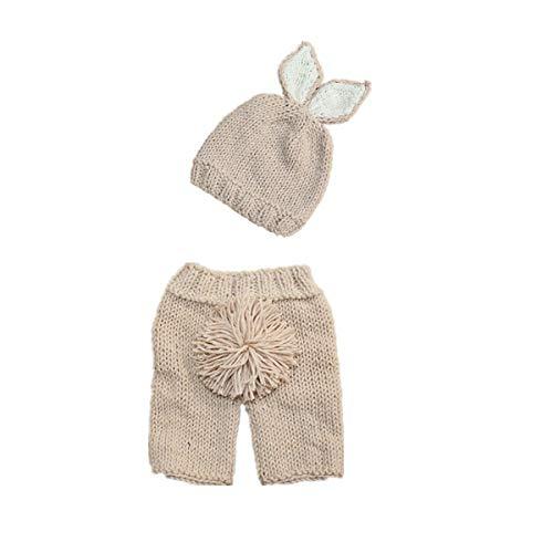 Yinuoday pasgeboren baby meisje jongen haak kostuum fotografie prop hoed en outfit gebreide kleding