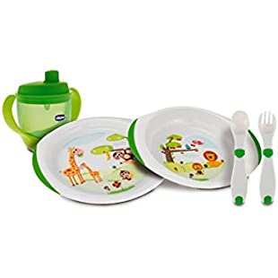 Chicco Meal Set 2013 6833000000 Set Consisting of Plates/Learner's Beaker/Learner's Cutlery/Suitable for Age 12 Months and Above
