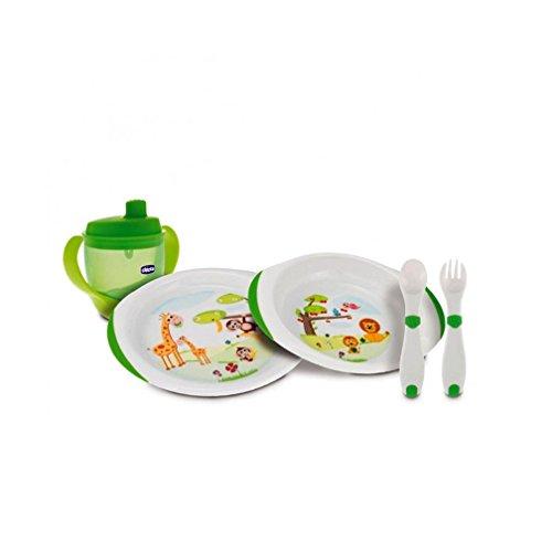 Chicco - Set de vajilla y cubertería infantil (platos, cubiretos y vaso), 12m+