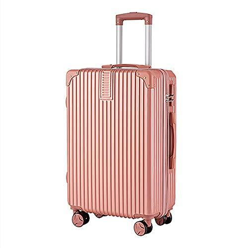 Carretilla de la maleta Carrera en la cabina de la mano bolsa de viaje de equipaje Maleta de contraseña de estudiante ligero, 4 ruedas de spinner Trolley Case -Zipper Style,Rosado,36*21*58