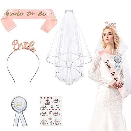 JGA Deko Accessoires 5 Stück, Bride to Be Accessoires Dekoration Tiara Braut Schärpe Bride to Be Schleier Hochzeit für Braut to be Tattoos, Für Junggesellenabschied Frauen Party