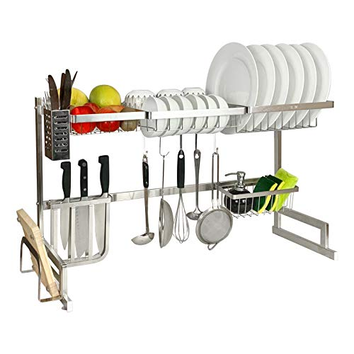 M PLUS Dish Rack SUS 304 Stainless Steel, Over Sink Dish Drying Rack with 5 Utility Hooks for Utensil Storage (33 Inch, Silver)