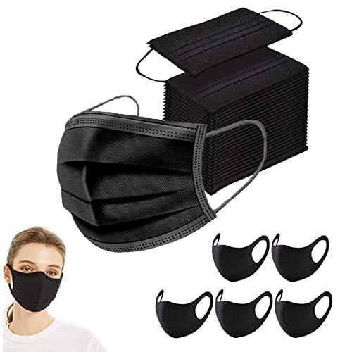 100 Stück Mundschutz Maske Schutzmaske & 5 Stück schwarz Mund und Nasenschutz Waschbar Staubschutzmaske Wiederverwendbar Atmungsaktiv Mundschutz Winddicht Unisex Halstuch