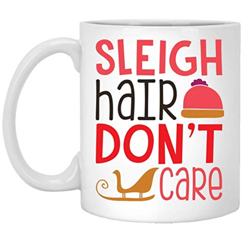 Divertidas tazas navideñas con diseño de trineo de pelo Dont Care, los mejores regalos de Navidad para amigos familiares compañeros taza de café blanca de 11 oz