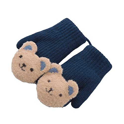 Axdwfd Wool Knitted Children Gloves Daily Life Outdoor Plus Velvet Warm Hanging Neck Cute Bunny Windproof Cartoon (Color : Navy Blue)