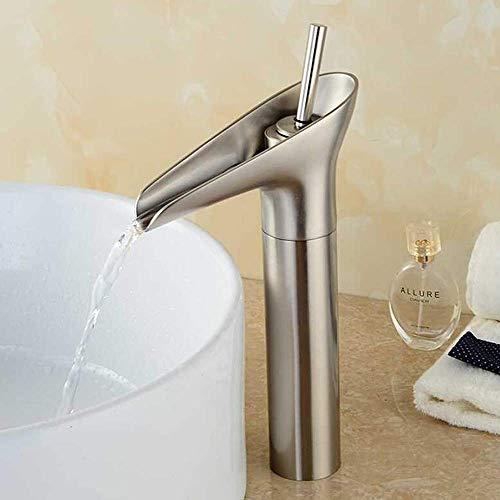 Brushed Waterfall Grifo mezclador para fregadero de baño Grifo mezclador de una sola palanca Grifo de grifo alto Accesorios para fregadero de baño Latón
