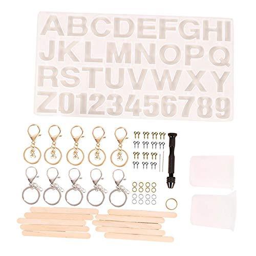 Colcolo 227 Piezas Juego de Fundición de Resina Número de Kit de Molde de Alfabeto de Letras Silicona