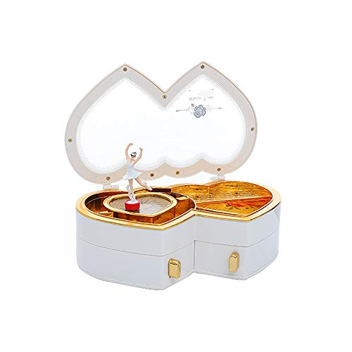 HaavPoois Caja de música con Forma de corazón Dulce con Dos cajones pequeños, Figuras de Bailarina Musical, joyero, Caja de Almacenamiento de Joyas para niñas y niñas
