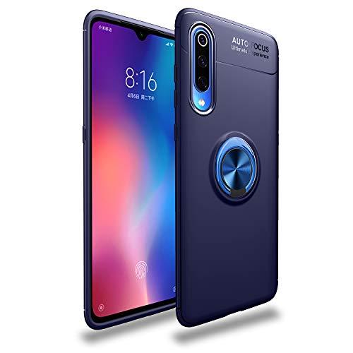Funda Compatible con Xiaomi Mi 9/Mi 9 SE Teléfono Móvil Silicona Bumper Case Caja con Anillo Giratorio de 360 Grados Rotaria Ring Holder Protectora Caso (Blue, Xiaomi Mi 9)
