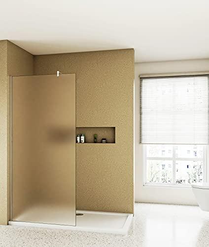 Aica Sanitär Walk-In Dusche 80cm Duschabtrennung Duschwand 10mm Nano Milchglas mit Stabilisator H200cm