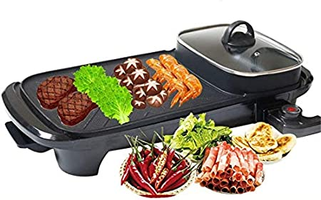 Barbacoa, eléctrico Mesa Grill con control de temperatura ajustable, cubierta de humo Extractor Tecnología, Cuadrado grande antiadherente Superficie de cocina