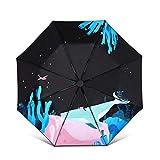 RXL Sonnenschutz Sonnenschirm 97 * 69cm Vinyl Sonnenschirm Sonnenschirm doppelten Zweck: Student Männer und Frauen Folding Sunny Umbrella Schutz (Color : Green)