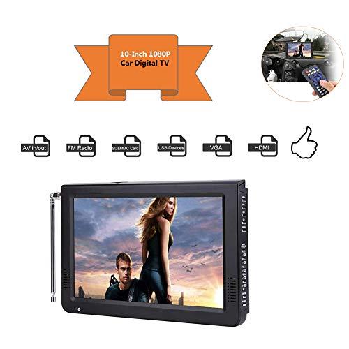 Acogedor 10 inch Portable HDMI Small TV,ATSC Car Digital TV,1080P Stereo High Sensitivity Digital TV with FM Radio, USB/SD/MMC Card Slot,Built-in Rechargeable Battery