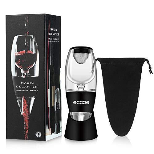 ecooe Aérateur r à vin Decanter Noir avec avec Support Stable et Sacoche de Voyage Décanteu pour vin Rouge Decanter Boîte de Cadeau