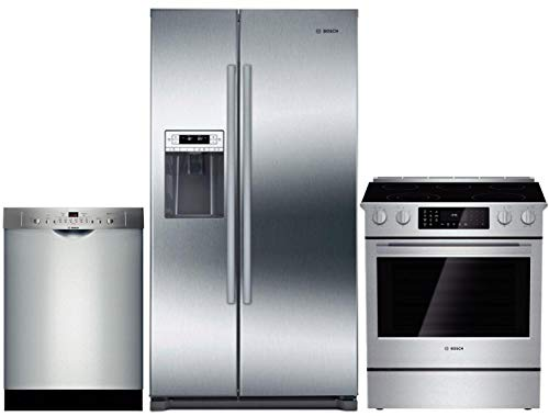 Bosch 3 Piece Kitchen Appliance Package with B20CS30SNS 36' Side by Side Refrigerator, HEI8054U 30' Slide-in Electric Range and SHE3AR75UC 24' Built In Full Console Dishwasher in Stainless Steel