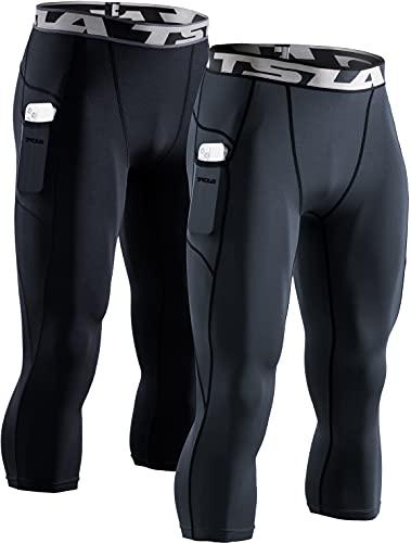 TSLA Mallas de compresión 3/4 para hombre, para correr, yoga, entrenamiento, atléticas, Hombre, Muc84 - Pack de 2 unidades, color negro y gris, medium