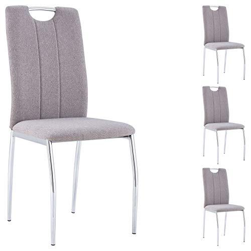 IDIMEX Esszimmerstuhl Apollo, Essstuhl Polsterstuhl Küchenstuhl Essgruppe, im 4er Set, mit Stoffbezug in grau