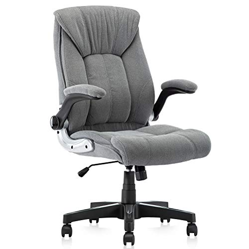 YAMASORO Ergonomic Office Chair Flip up Arm Rests Fabric Executive Office Chairs Comfortable Gray Computer Desk Chairs Task Chair with Wheels for Home Office