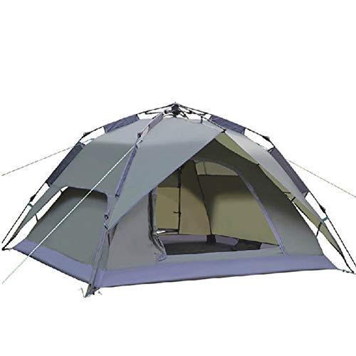 QYYZP Campingzelt, Automatisches Zelt Doppeldecker Storm Racing-Zelt Off-The-Clock-Open mit großen Lüftungsöffnungen Campingausrüstung Fiberglas-Kletterzelt für Outdoor-Sport (Color : ArmyGreen)