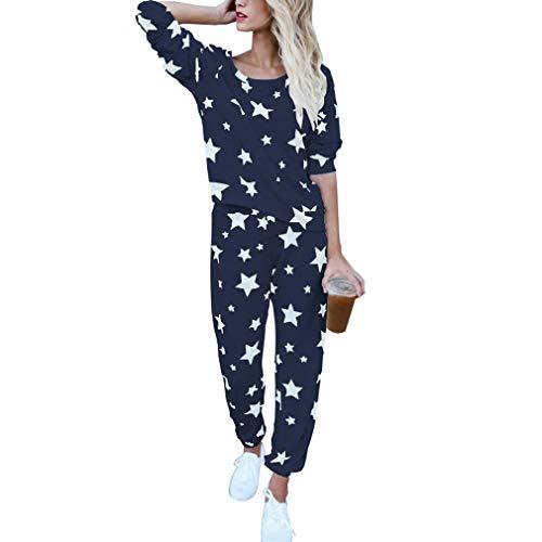 Ropa de Casa para Mujer, Camiseta de Manga Larga y Pantalones Largos 2Pcs Conjuntos de Pijama Moda Impresa Conjuntos de Ropa de Dormir