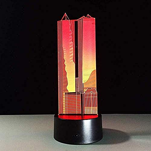 Luces De Ilusión 3D Led Lámpara De Mesa Luces Edificio 7 Colores Touch Sensor Lámpara Cargador Usb Dormitorio Decoración Regalo De Cumpleaños Para Niños