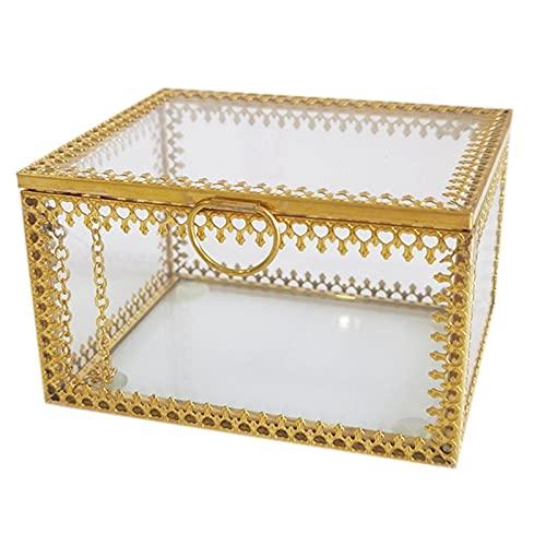 Fauge Caja de Almacenamiento de Joyas, Organizador de ExhibicióN de Joyas Doradas Caja Decorativa del Hogar Caja para Almacenamiento Baratija Anillo Aretes Cofre