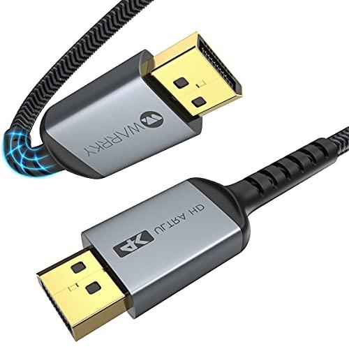 DisplayPort Kabel 2m, WARRKY Ultra Highspeed DisplayPort 1.2 Kabel [ 4K @ 60Hz, 2K @ 144Hz / 165Hz, 1080P @ 240Hz ], Kompatibel mit FreeSync und G-Sync, 144Hz-Gaming-Monitor, Laptop, PC, Grafikkarte
