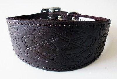 4doggies Halsband für Windhunde, Leder, geprägt, keltisches Design, Braun, 25,4 - 30,5 cm