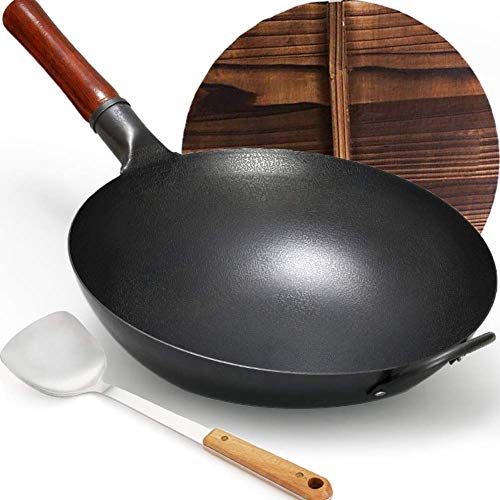 """Carbon Steel Wok, YTFGGY Wok Pan for Gas Stoves - 12.6"""" Woks and Stir Fry Pans - Traditional Chinese Japanese Iron Woks (Lid, Spatula Included)"""